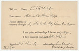 Postcard from Frederick Eirich to Maria Eirich